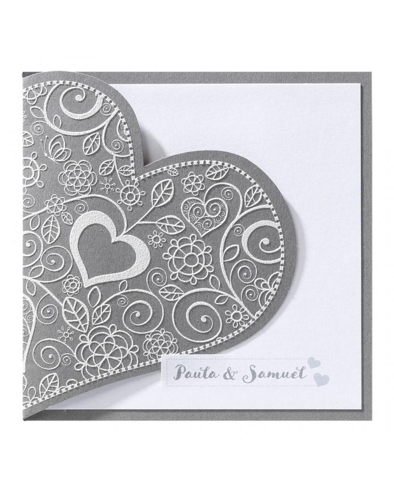 Partecipazione nozze con cuore e inserto bianco madreperlato