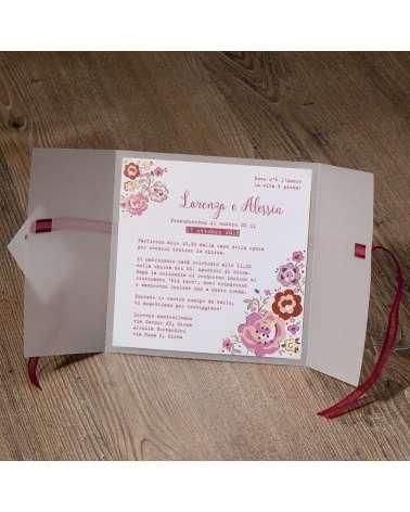Partecipazione nozze rose copertina trasparente