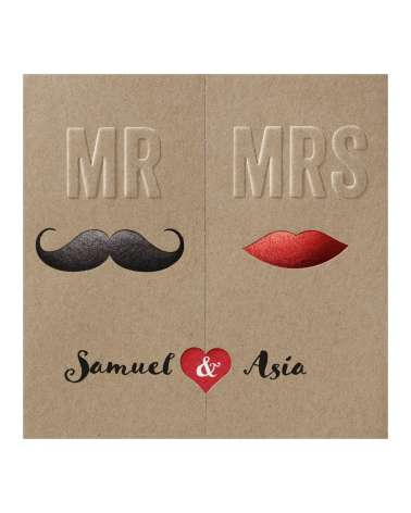 "Partecipazione nozze simpatica ""Mr & Mrs"" avana"