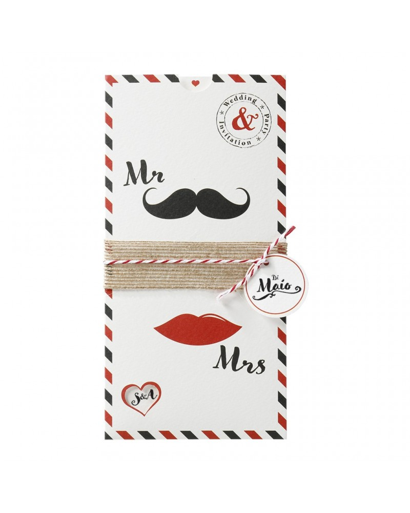 "Partecipazione nozze simpatica ""Mr & Mrs"" bianca"