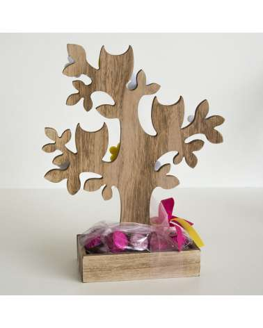 Portagioie albero con gufetti colorati