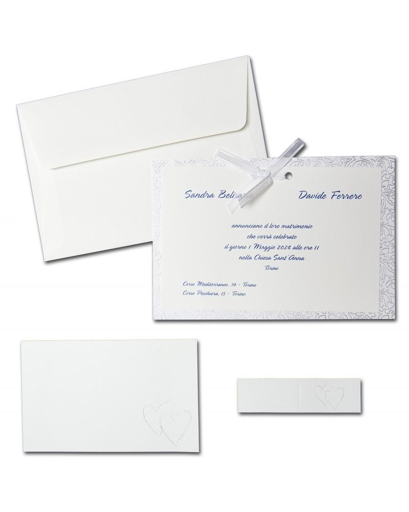 Partecipazione doppio cartoncino su decori argento