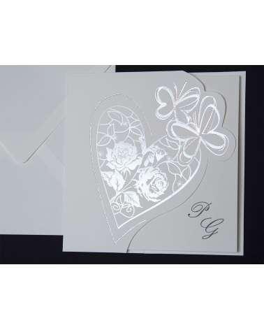 Partecipazione Cuore e farfalle argento