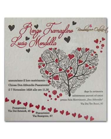 Partecipazione Tree of Hearts carta 850 gr cotone
