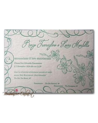 Partecipazione Ciliegio in fiore carta 850 gr cotone