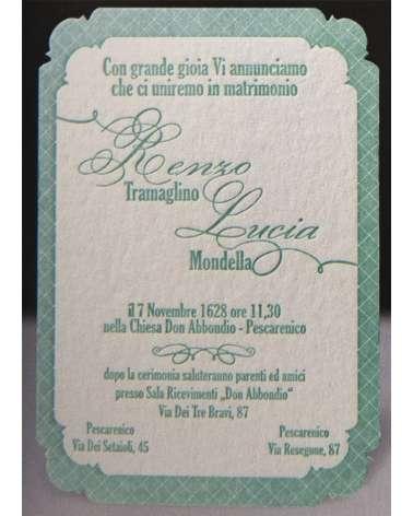 Partecipazione Love Net carta 850 gr cotone