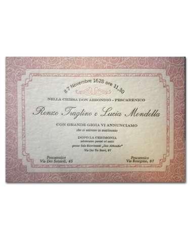 Partecipazione Rose&Rose carta 850 gr cotone