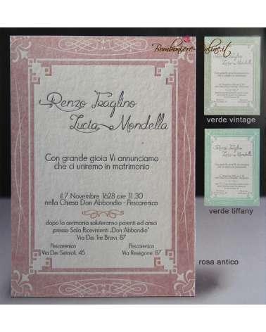 Partecipazione Art Decò carta 850 gr cotone