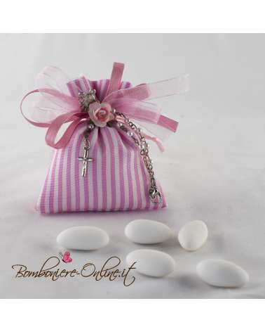 Braccialetto rosario con sacchetto in cotone