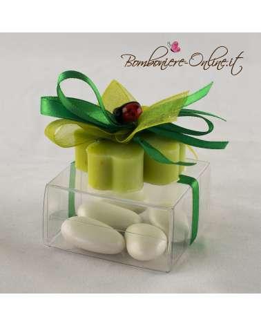Saponetta quadrifoglio c/coccinella su box