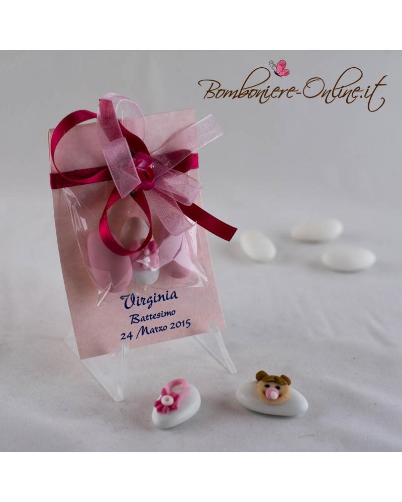 Bomboniere Battesimo e Nascita. Sacchetti piccolo personalizzato con confetti decorati