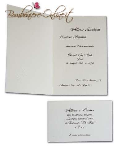 Partecipazione cartoncino ruvido avorio