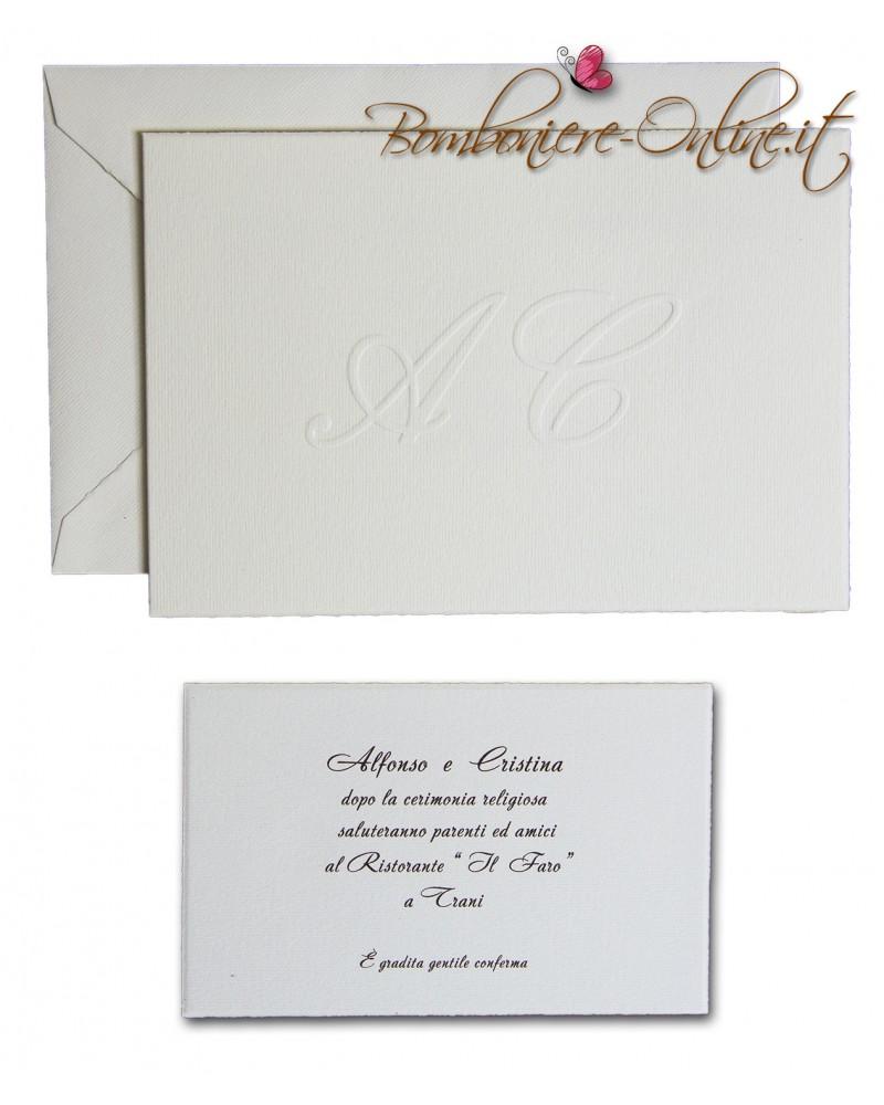Partecipazione cartoncino avorio orizzontale ap. libro