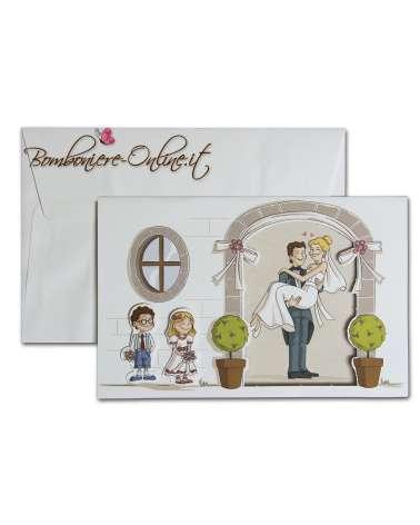 Partecipazione con invito sposi e bimbi 3D