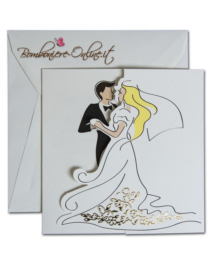 spesso con invito sposi stilizzati decoro oro vestito sposa NX17