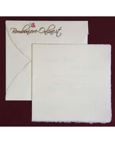 Partecipazione in Carta Amalfi avorio quadrata ap. libro