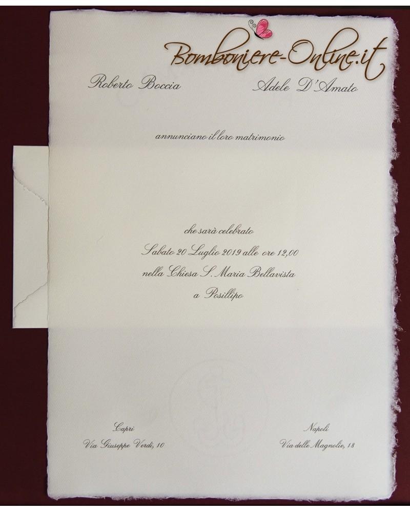Partecipazione in Carta Amalfi avorio f.to A4