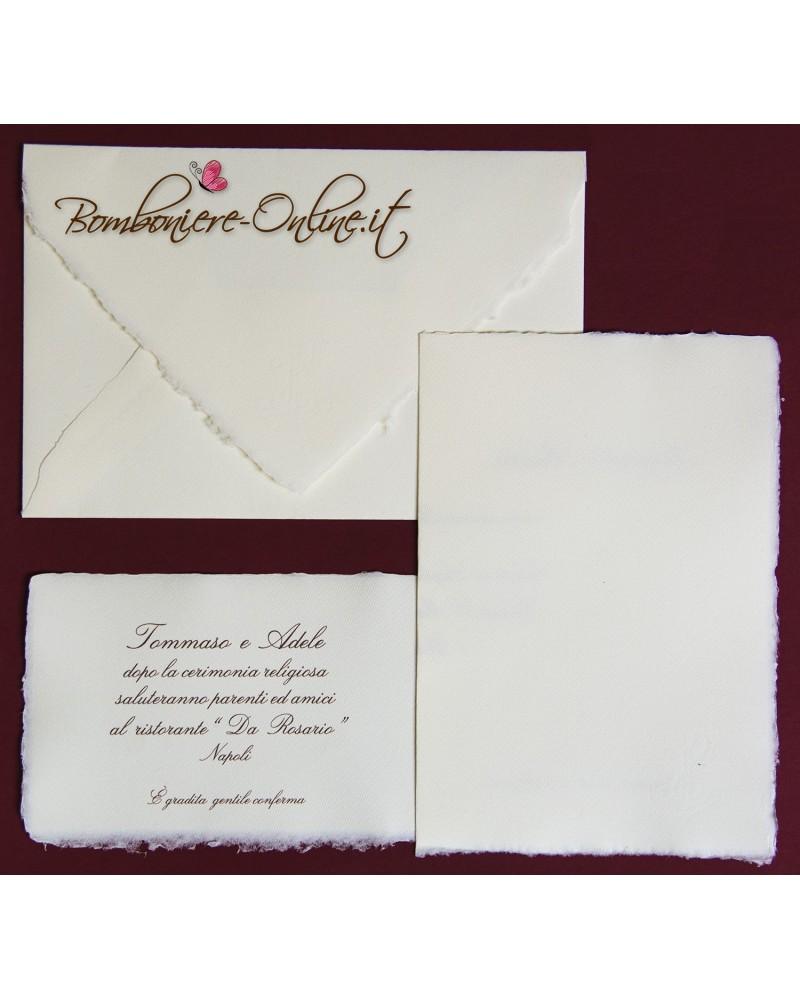 Partecipazione in Carta Amalfi avorio rett. vert. ap. libro