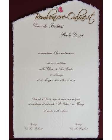 Partecipazione con invito in Carta Amalfi bianca A4 senza busta