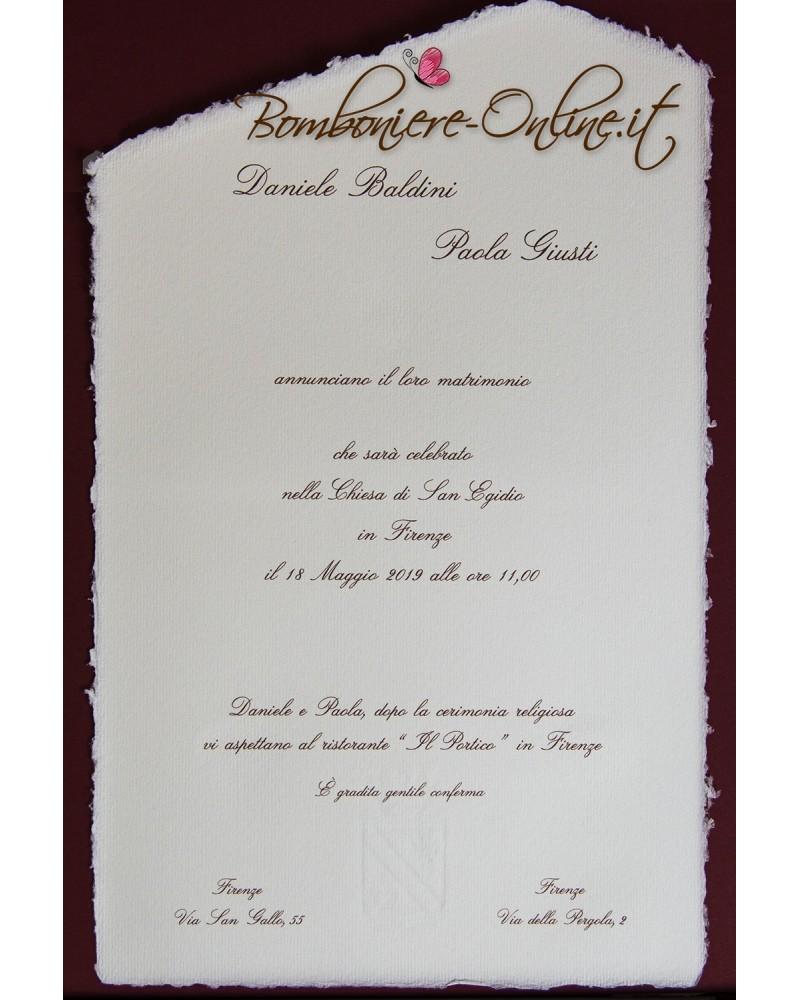 Partecipazioni Matrimonio Online.Partecipazione Con Invito In Carta Amalfi Bianca A4 Senza Busta