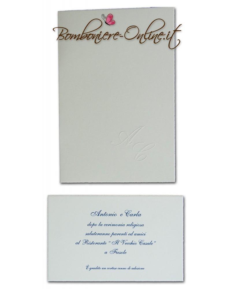 Partecipazione bianco liscio ap. libro