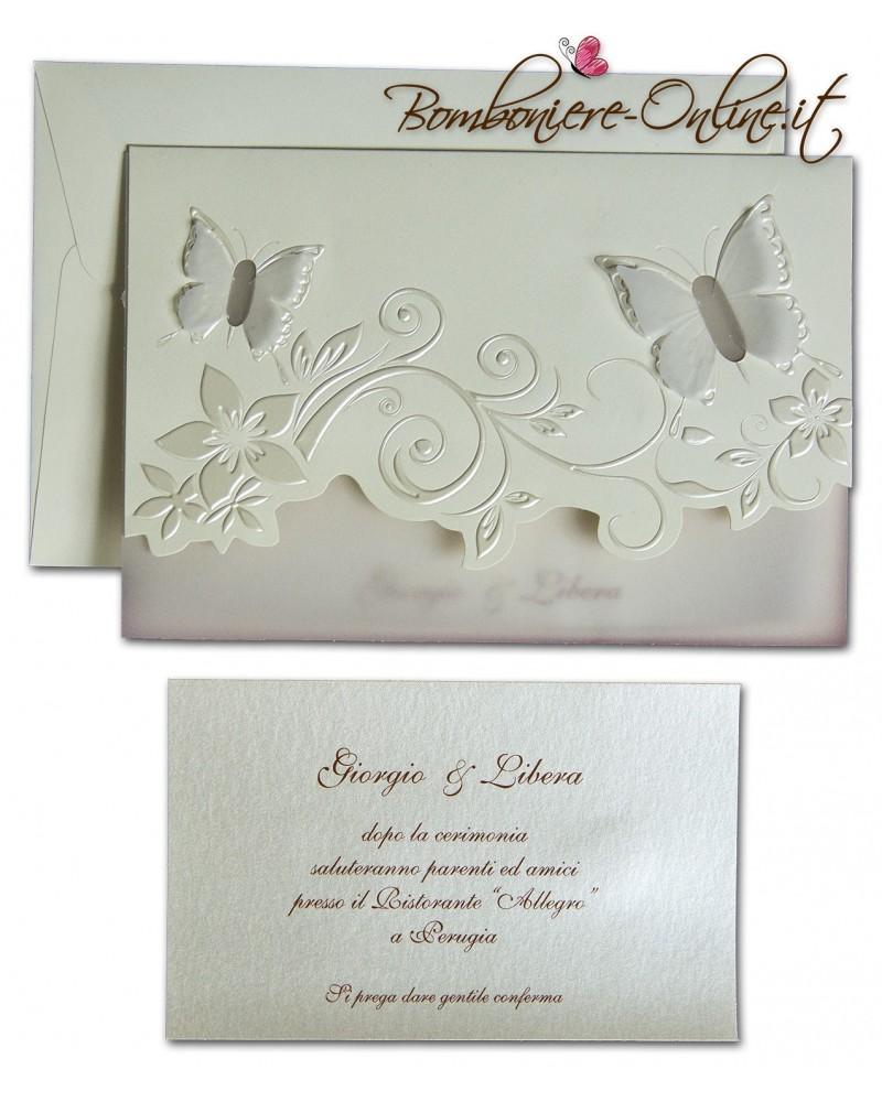Partecipazioni Matrimonio Farfalle.Partecipazione Con Invito Farfalle Trasflucide E Decori Madreperla