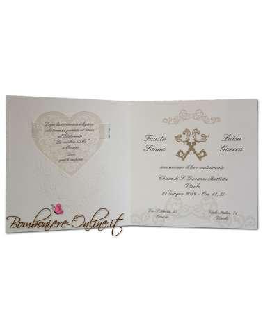 Partecipazione di matrimonio con invito cuore e chiavi