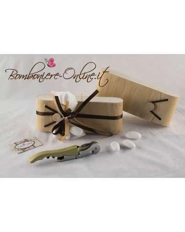 Cavatappi bianco con scatola personalizzabile in foglia di legno