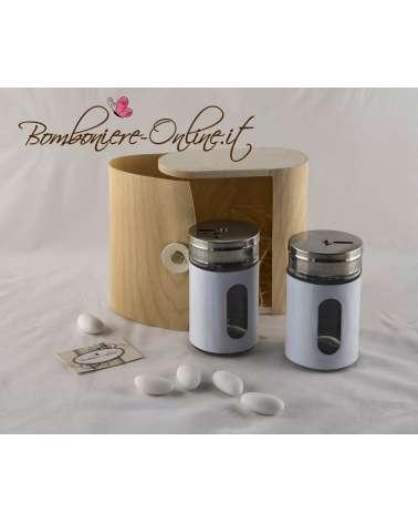 Sale e pepe con scatola personalizzabile in foglia di legno