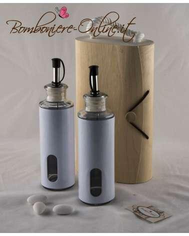 Olio e aceto con scatola personalizzabile in foglia di legno