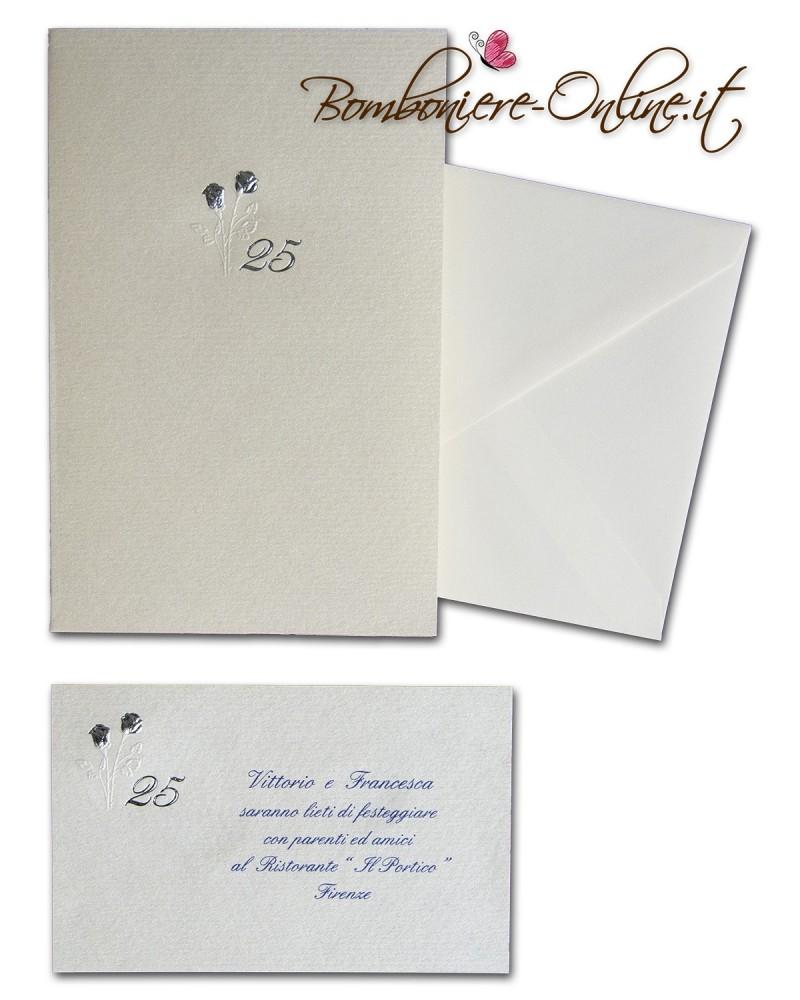 Partecipazione anniversario 25 anni nozze d 39 argento for Frasi per anniversario matrimonio 25 anni