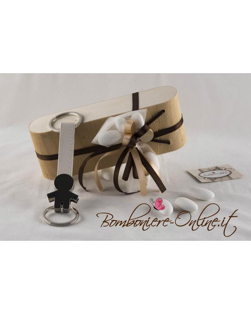 """Portachiavi bimbo """"Lui e Lei"""" con scatola in foglia di legno personalizzabile"""