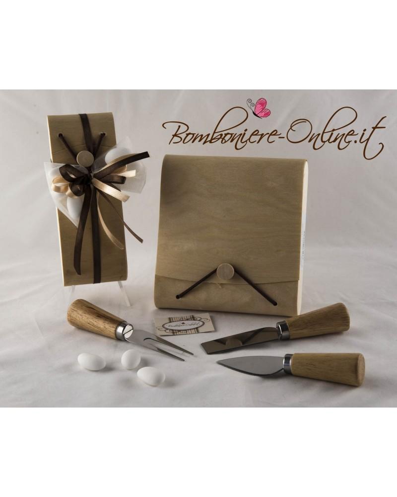 Set coltelli formaggio con scatola in foglia di legno personalizzabile