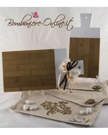 Bomboniera Matrimonio Tagliere bamboo e bianco rettangolare piccolo