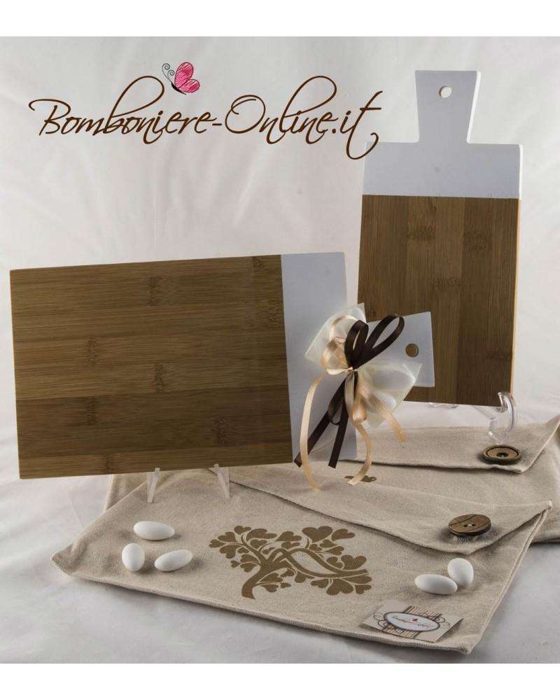 Tagliere bamboo e bianco rettangolare grande