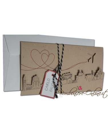 Partecipazione nozze tema viaggio Boarding card