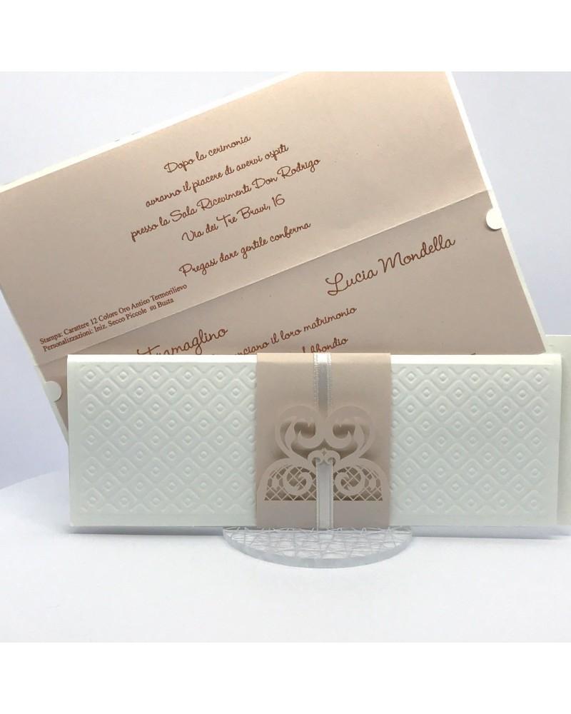 Partecipazioni Matrimonio Klimt.Partecipazione Matrimonio Con Invito Orizzontale Matalasse