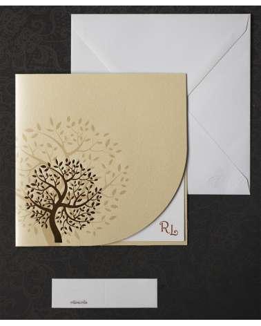 Partecipazioni matrimonio - Albero dorato