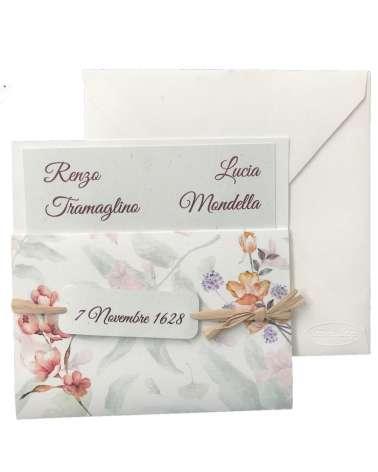 Partecipazione matrimonio con invito fiori ad acquerello