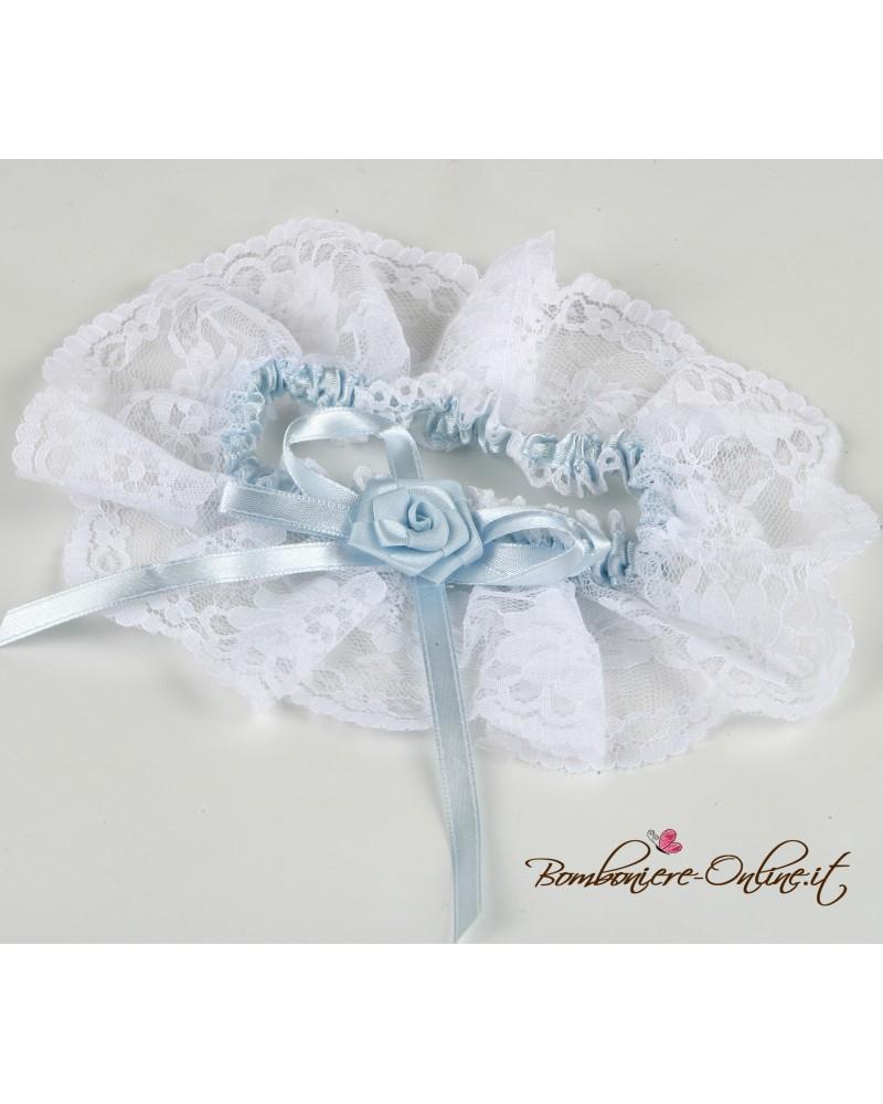 Giarrettiera bianca con nastrino azzurro