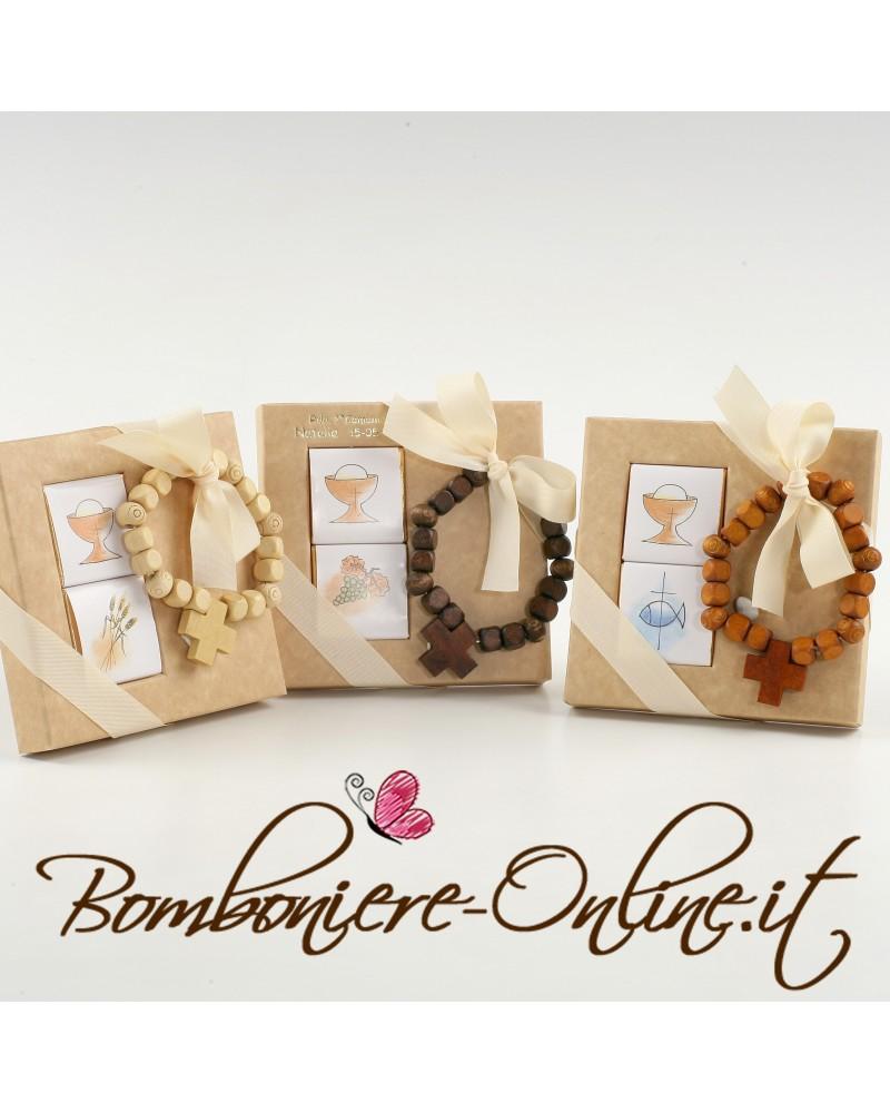 """Box 2 cioccolatini con bracciale rosario in legno """"Prima Comunione"""""""