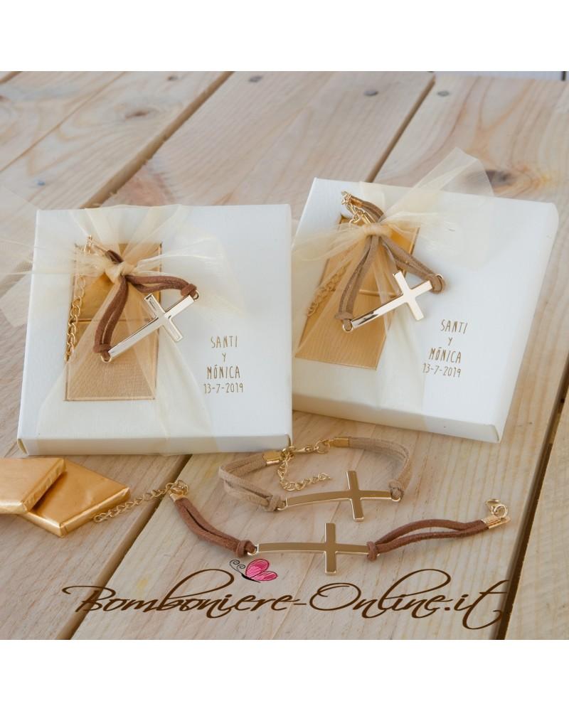 Bracciale croce marrone/beige con 2 cioccolatini