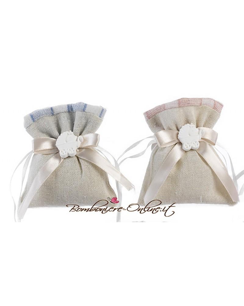 Sacchetto battesimo rosa/azzurro con gessetto profumato