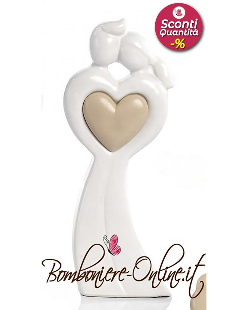 """Bomboniere Matrimonio: Innamorati medi con cuore  """"sposi in Love"""""""