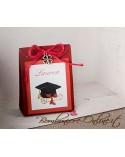 """Scatolina portaconfetti Laurea in cartoncino con applicazione quadrifoglio serie """"Gaia"""""""