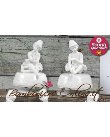 Carillon con ballerina in porcellana bianca