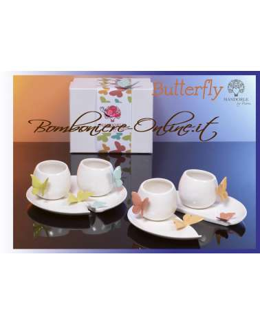 """Coppia di tazzine in ceramica collezione """"Butterfly"""""""