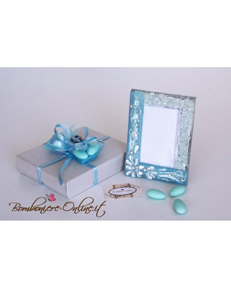 Portafoto in vetro azzurro fiori