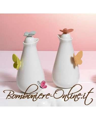 """Bomboniera Matrimonio: Boccetta per olio/aceto  in ceramica collezione """"Butterfly"""""""