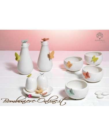 """Bomboniere Matrimonio - Set bottigliette per olio/aceto in ceramica collezione """"Butterfly"""""""